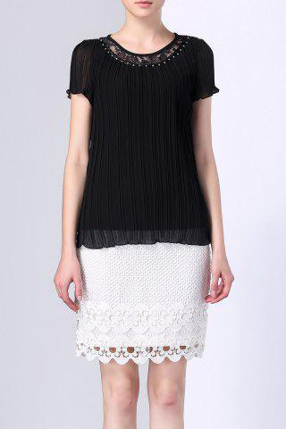 Sale Lace Insert Pleated Top