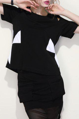Affordable Color Block Cut-Out Zipped T-Shirt
