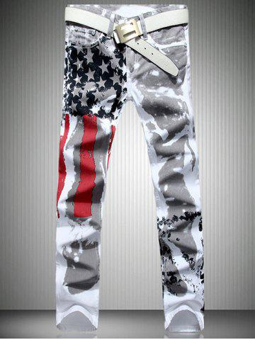 Patriotic Printing Zip Fly Straight Legs Denim Pants Blanc 36