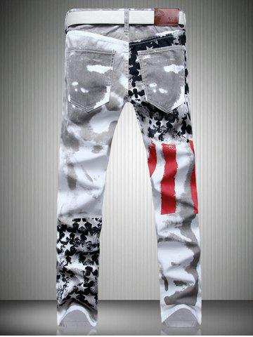 Shops Patriotic Printing Zip Fly Straight Legs Denim Pants - 34 WHITE Mobile