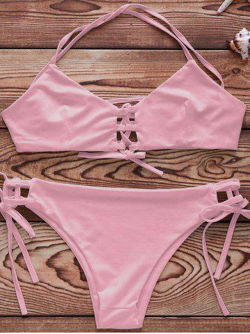 Unique Spaghetti Strap Lace Up String Bathing Suit - XL PINK Mobile