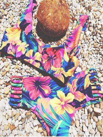 Best Stylish Bandage Flower Print Women's Bikini Set