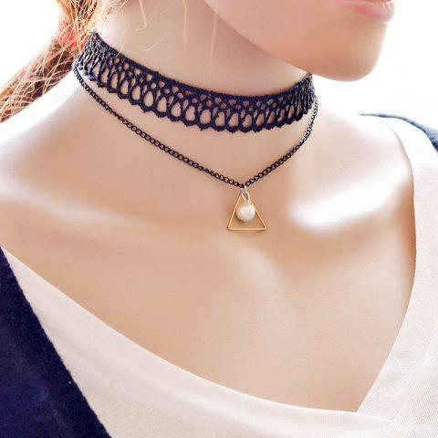 Cheap Vintage Layered Faux Pearl Triangle Necklace For Women BLACK