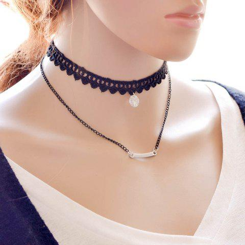 Fancy Vintage Layered Rhinestone Necklace For Women BLACK