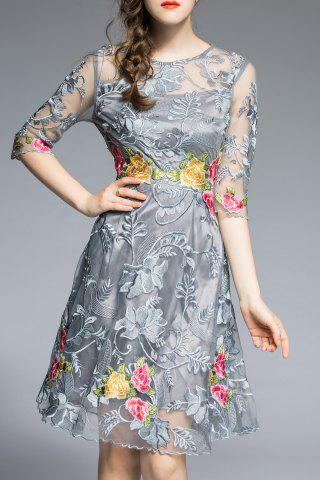 Affordable Round Neck Floral Embroidery Dress