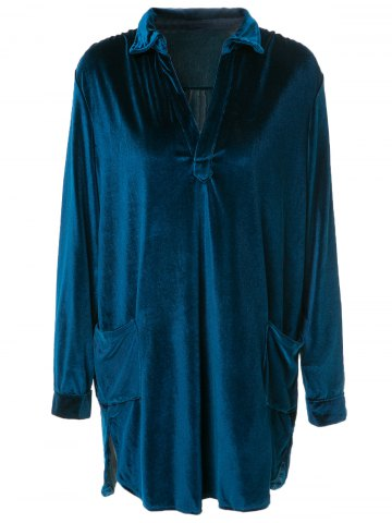 Fancy Cozy Velvet Long Sleeve Button Down Shirt Dress - L CADETBLUE Mobile