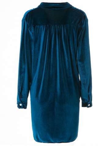 Store Cozy Velvet Long Sleeve Button Down Shirt Dress - L CADETBLUE Mobile