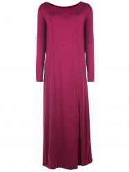 Slash Neck Long Sleeve Casual Maxi Dress