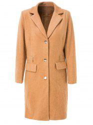 Stylish Turn-Down Collar Long Sleeve Pure Color Mid Length Coat For Women