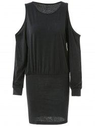 Trendy Round Neck Long Sleeve Pure Color Knitted Women's Dress - BLACK