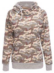 Stylish Hooded Long Sleeve Camo Print Women's Pullover Hoodie -