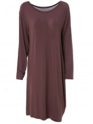 Fashionable Skew Neck Solid Color Long Sleeve Loose Dress For Women -