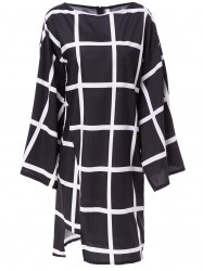 Fashionable Boat Collar Plaid Printed Batwing Sleeve Midi Dress For Women