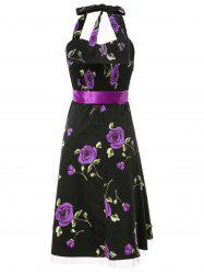 Graceful Halterneck Sleeveless Floral Print Self Tie Belt Women's Vintage Prom Dress