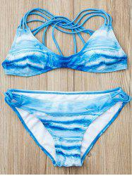 Sexy Printed Low-Cut Halter Bikini Suit For Women -