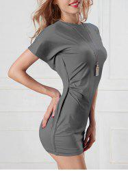 Batwing Round Neck Over Hip Bodycon Bandage Dress - GRAY ONE SIZE(FIT SIZE XS TO M)