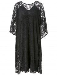 Hollow Out Lace Kimono Sleeve Dress