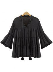 Fashionable V-Neck Bell Sleeve Chiffon Blouse For Women