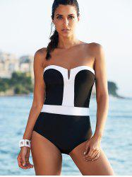 Color Block One-Piece Strapless Bathing Suit