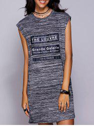 Graphic Applique Slit Tee Dress - BLACK GREY M