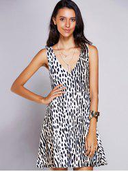 Stylish V-Neck Print A-Line Dress For Women - BLACK
