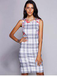 Stylish Jewel Neck Sleeveless Plaid Midi Dress For Women