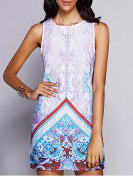 Stylish Round Neck Sleeveless Print Mini Dress For Women -