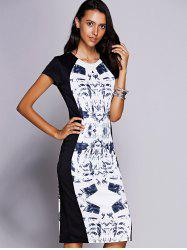 Elegant Jewel Neck Short Sleeve Print Midi Dress For Women - BLACK L