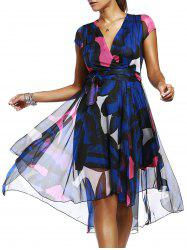 Elegant V-Neck Short Sleeve Print High Low Dress For Women -