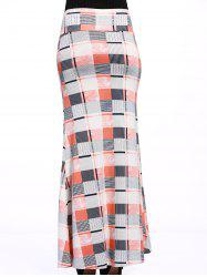 Stylish Women's Colorful Plaid Over Hip Skirt -