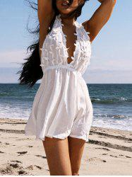 Women's Stylish Plunging Neck White Sleeveless Lace Dress -