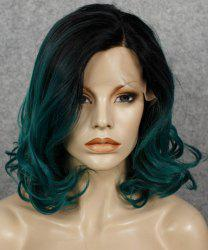 Fashion Black Ombre Dark Green Synthetic Fluffy Wavy Medium Lace Front Wig For Women -
