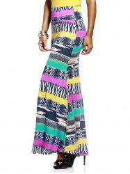 Mixed Print Long Skirt
