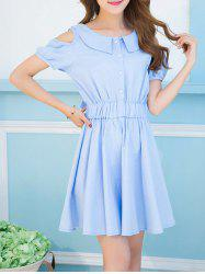 Sweet Turn-Down Collar Cold Shoulder Bowknot Dress For Women
