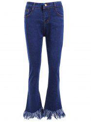 High Waist Fringed Flare Jeans -