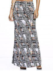 Chic Tartan With Leopard Print Maxi Skirt For Women