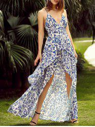 Floral Backless Maxi Slip Flowy Summer Dress -