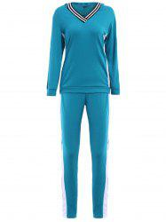 Chic Hooded Long Sleeve Hit Color Two-Piece Women's Activewear Suit