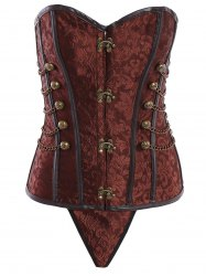 Vintage Steampunk Alloy Chain Design Lace-Up Corset For Women - BROWN