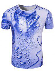 Slimming 3D Drop of Water Printing Collarless Short Sleeves For Men - BLUE