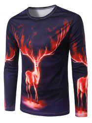 Slimming 3D Deer Printing Collarless Long Sleeves For Men