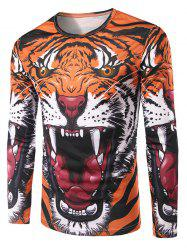 Slimming 3D Tiger Printing Collarless Long Sleeves For Men -
