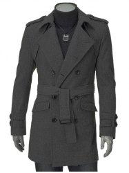 Turn-Down Collar Epaulet Design Double Breasted Long Sleeve Woolen coat For Men - GRAY