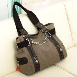 Casual Chain and Canvas Design Tote Bag For Women - DARK KHAKI