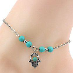 Delicate Cut Out Hand Eye Turquoise Beads Charm Anklet For Women -