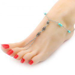 Fake Turquoise Beads Flower Anklet -