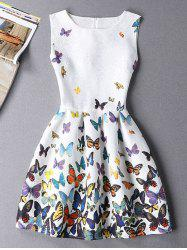 Sleeveless Butterfly Mini Casual Spring Everyday Dress -