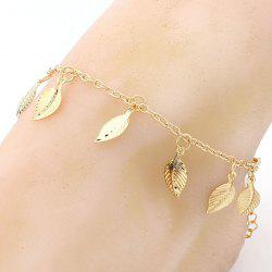 Leaf Charm Gold Plated Girl Beach Anklets - LIGHT GOLD
