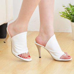 Stylish Solid Colour and Stiletto Heel Design Slippers For Women - WHITE