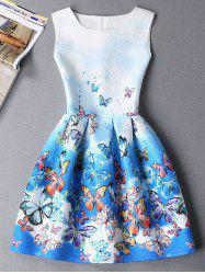 Cute Sleeveless Round Neck Butterfly Print Ombre Women's Dress
